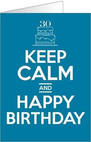 Carte d'anniversaire Keep calm and happy birthday à personnaliser.  Disponible en 2 formats et 2 coloris à partir de 0.62€ sur Popcarte.com