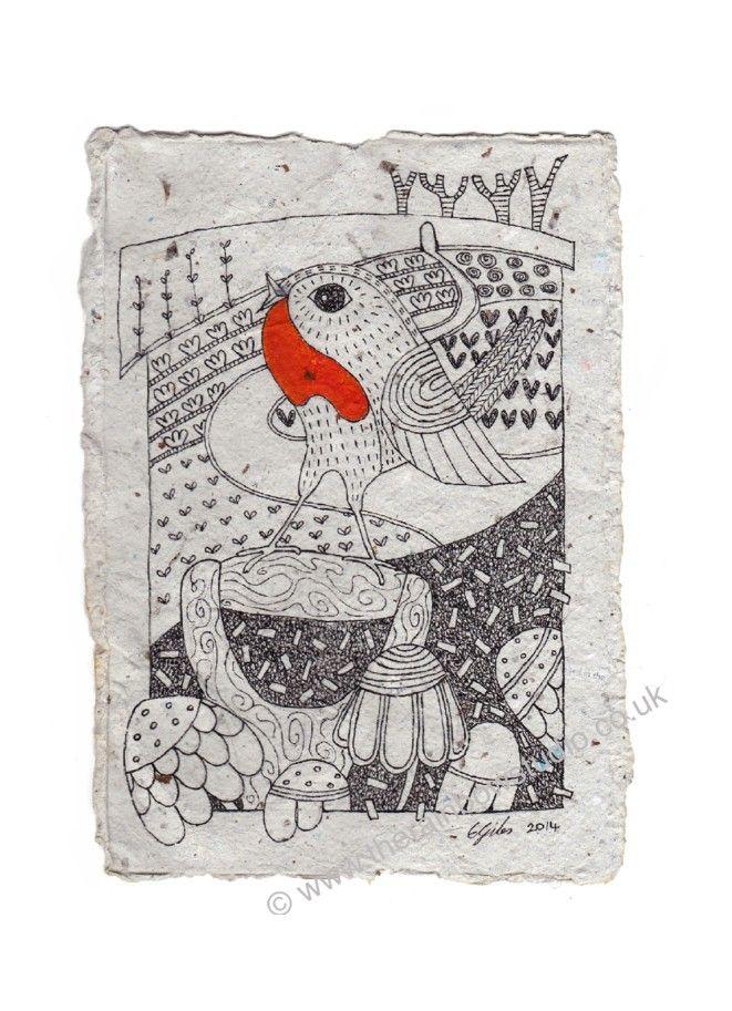 The Kitchen Garden, illustration on handmade paper by Emma Giles.