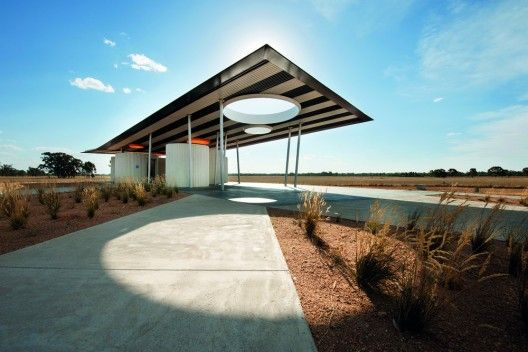 Calder Woodburn Rest Area by BKK Architects, Goulburn Valley Highway, Australia