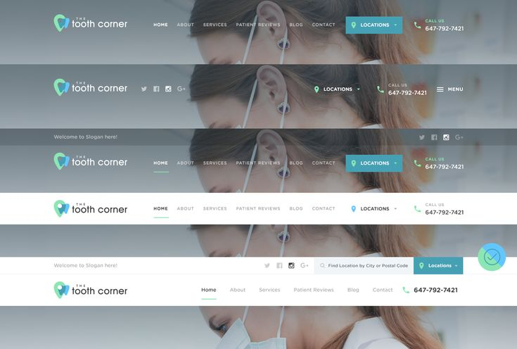 Tooth corner website header  menu   navigation  design variations big