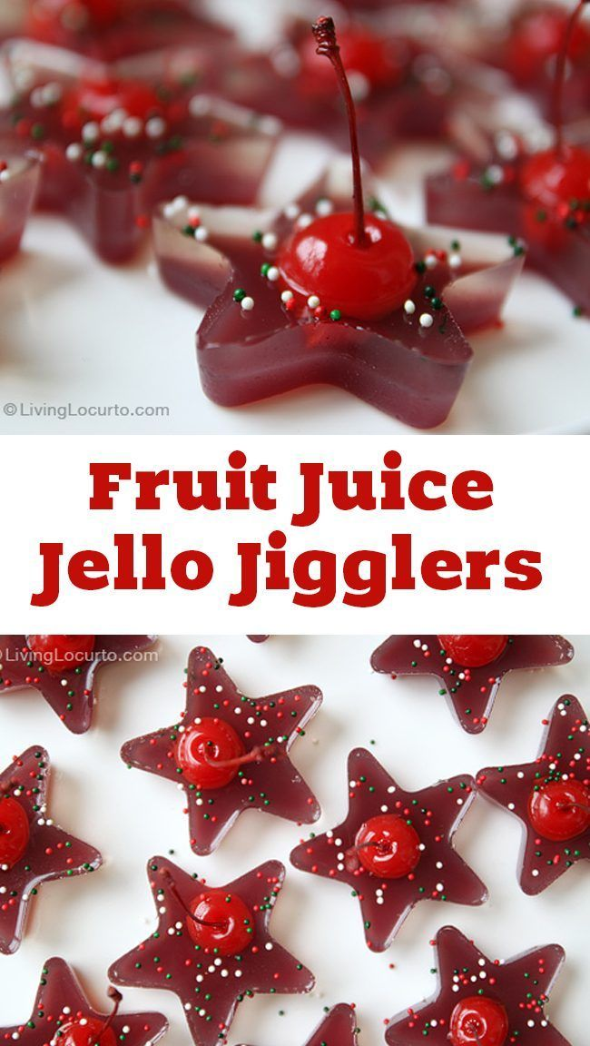 A fun and easy party recipe idea with jello. These Fruit Juice Cherry Jello Jigglers are great for both kids and adults! Homemade jello shots. Cute Christmas party dessert idea.