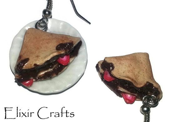 Nutella Crepes Strawberry Earrings by ElixirCrafts on Etsy