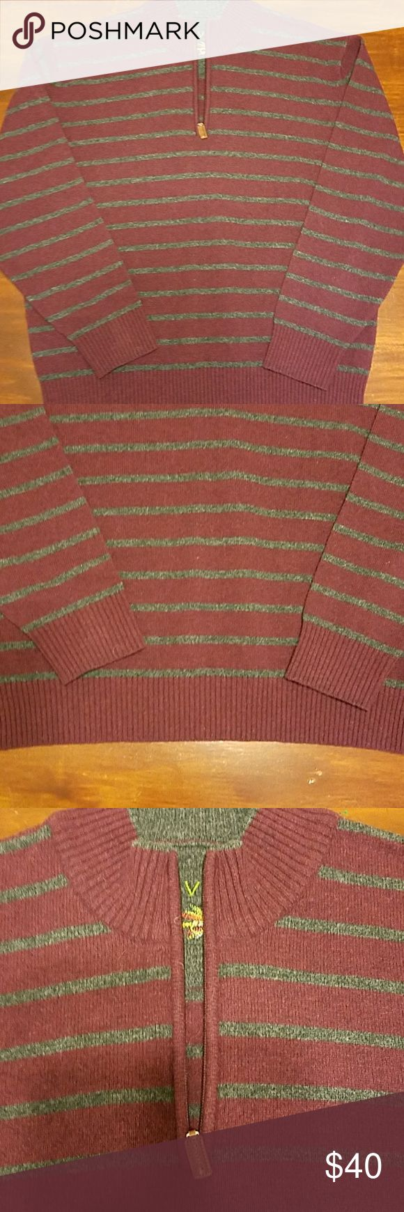 Orvis mens wool sweater SZ XL Orvis 100% lambswool sweater SZ XL. Burgundy and gray. Striped. 1/4 zip. Excellent condition. Very warm, great quality. Smoke and pet free home. Orvis Sweaters Zip Up