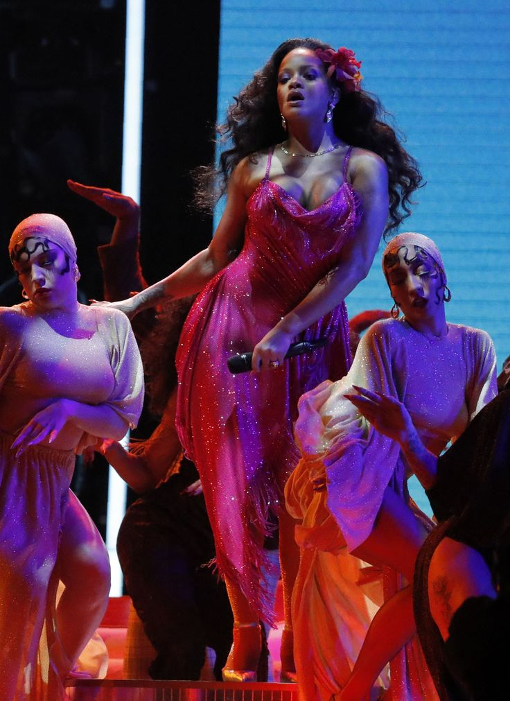 Rihanna performs live during the 60th Annual GRAMMY Awards at Madison Square Garden on January 28, 2018 in New York City.