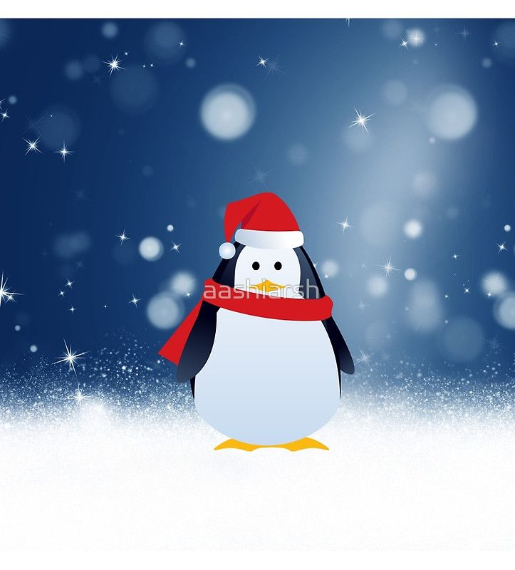#Cute #Penguin w #Red #Santa Hat #Christmas #Snow #Stars #MerryChristmas #noel #Christmasgifts #gifts #bird #xmas