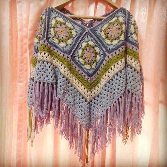 Granny Square Poncho Bohemian style by ShannyCafeCrochet