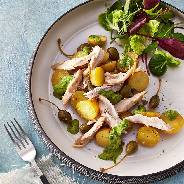 Kyllingsalat med salsa verde og kapers
