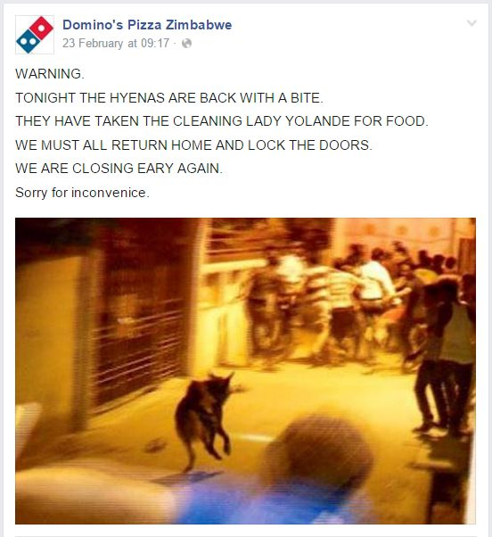 10 Times Domino's Pizza Zimbabwe's Facebook Page Didn't Fail to Bring the High Quality Entertainment
