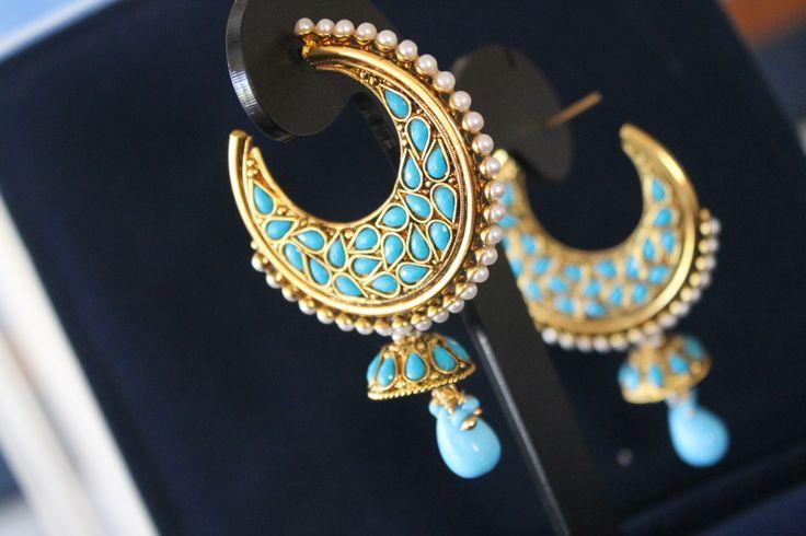 Blue chandelier earrings.   https://www.facebook.com/JhumkhaJewels