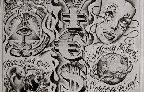 pics of money tattoos