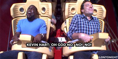 Hart really didn't want to do it. | Kevin Hart Totally Loses It When Jimmy Fallon Makes Him Ride A Roller Coaster