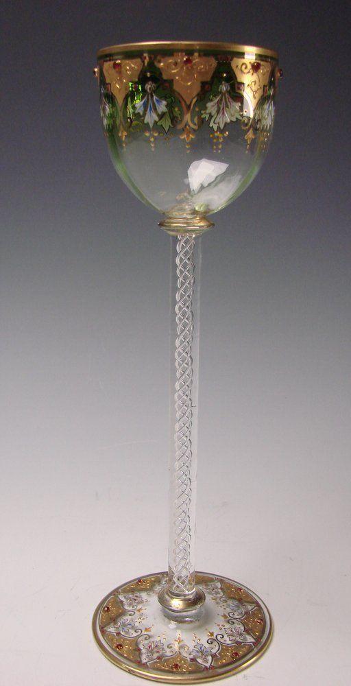 "Antique Moser Bohemian 10 3/8"" Jeweled Emerald Green Gilt Airtwist Wine Glass Stem c1900, Shop Rubylane.com"