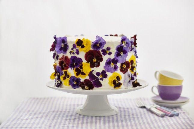 Favorite Now, Make Later: Edible Flower Cake via Brit + Co.