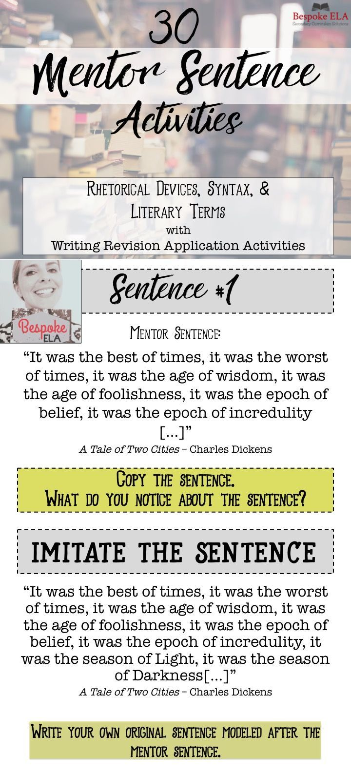 This product is a POWER POINT that contains 30 MENTOR SENTENCES from famous classic writers to model key literary terms, rhetorical devices, and syntactical structures for students.  Excellent for high school English Language Arts including Advanced Placement.   by Bespoke ELA