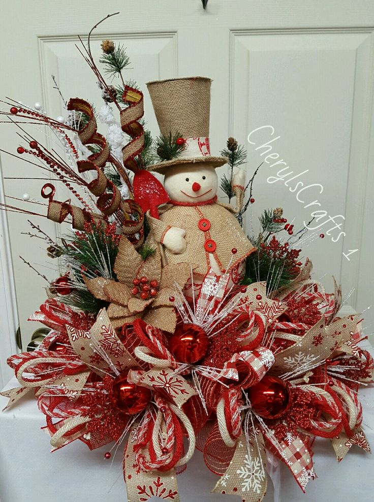 Deco Mesh Christmas centerpiece