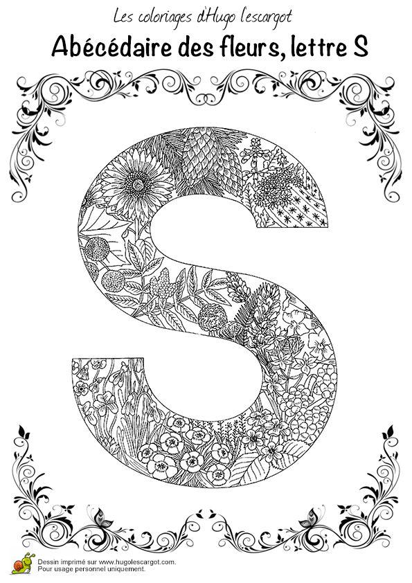 Coloriage abecedaire belles fleurs a lettre s sur - Hugolescargot com coloriage ...