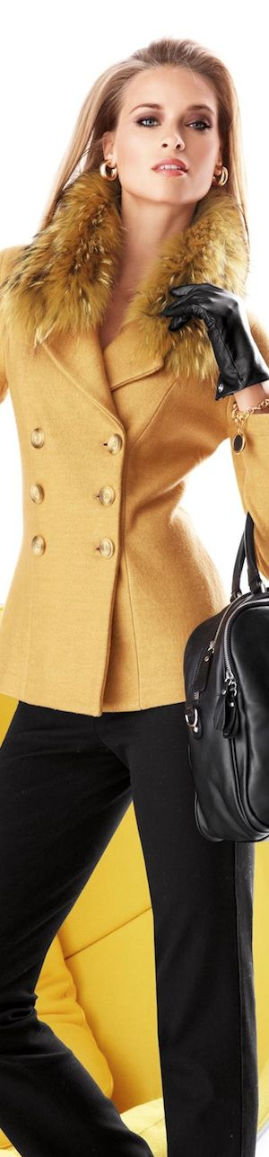 Classic golden yellow jacket paired with black pants and accessories