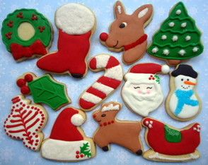 Christmas Cookies~                          by Cookies Natal Boho, #, red Santa hat, sleigh, ornament, green holly, candy cane, Rudolph, Brown deer, wreath, Christmas tree, snowman