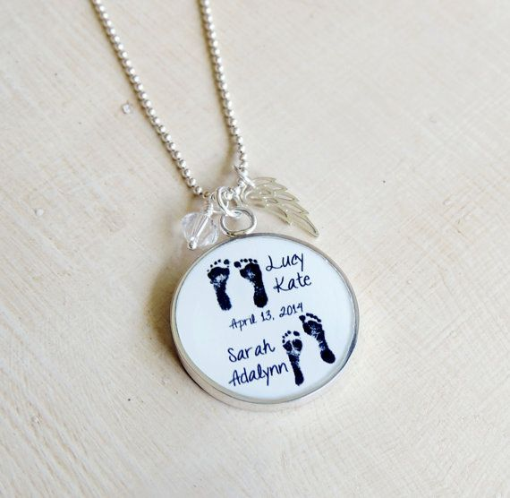 Baby Footprint Necklace - Mother's Necklace - Angel Baby ...