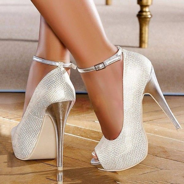 Women's Style Pumps Silver Wedding Shoes Glitter Ankle Strap Platform Heels Peep Toe Shoes Fall Fashion 2017 Fall Outfits Women Fall Fashion Wedding Dresses Shoes Mermaid Wedding Dress Heels For Party for Party, Big day, Anniversary | FSJ #weddingshoes