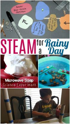 Fun and easy STEM activities for kids for a rainy day. Make a circuit game, microwave soap, learn how to be an engineer, and make a boat to float in puddles!