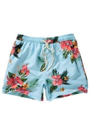 Mens Blue Floral Swimshorts