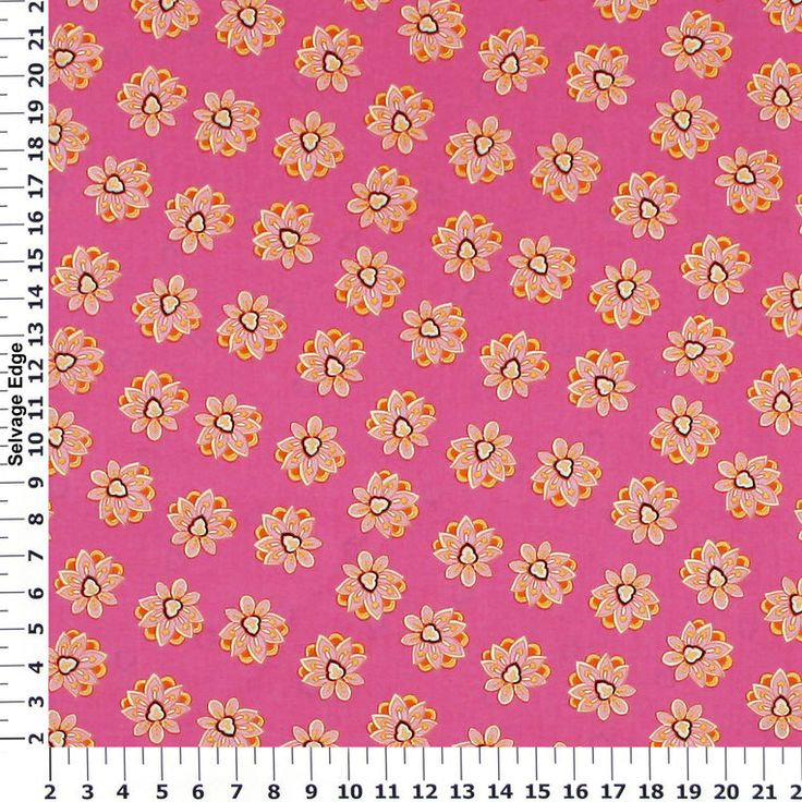 Large Light Pink Flowers Bright Pink Cotton Fabric