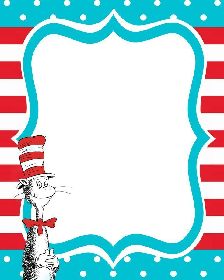 17 best images about borders and covers on pinterest for Dr seuss birthday card template
