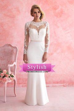 2016 vestidos de boda de la sirena de cuchara mangas largas con apliques de tul tren de la corte US $ 299.99 STPX7NDNYH - stylishpromsdress.com