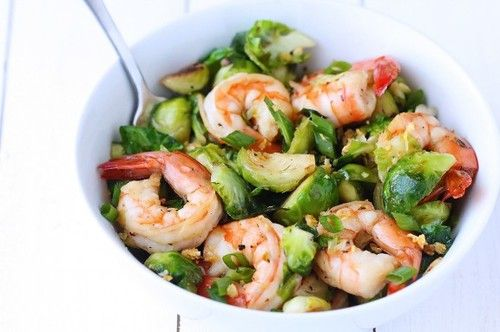 fattributes:  Honey Sesame Shrimp and Brussels Sprouts Stir Fry