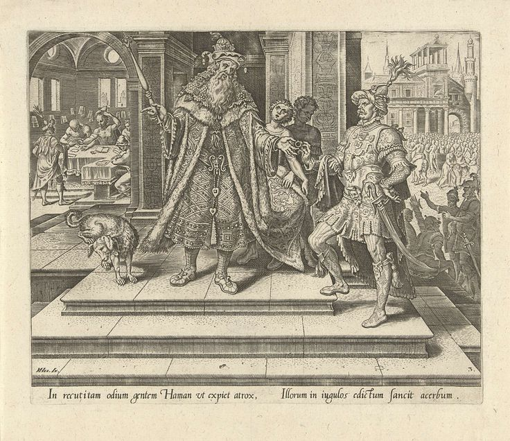 Philips Galle   Ahasveros geeft Haman toestemming te Joden uit te roeien, Philips Galle, Hadrianus Junius, 1564   Ahasveros staat voor zijn paleis op een trap en overhandigt zijn hoogste ambtenaar Haman een zilveren ring. Hij geeft hem toestemming om het volk van de Joden uit te roeien. Linksachter een kamer in de ambtenarij waar het bericht wordt verspreid in alle delen van het land via brieven. Rechtsachter de oproer in de stad Susa naar aanleiding van het bericht.