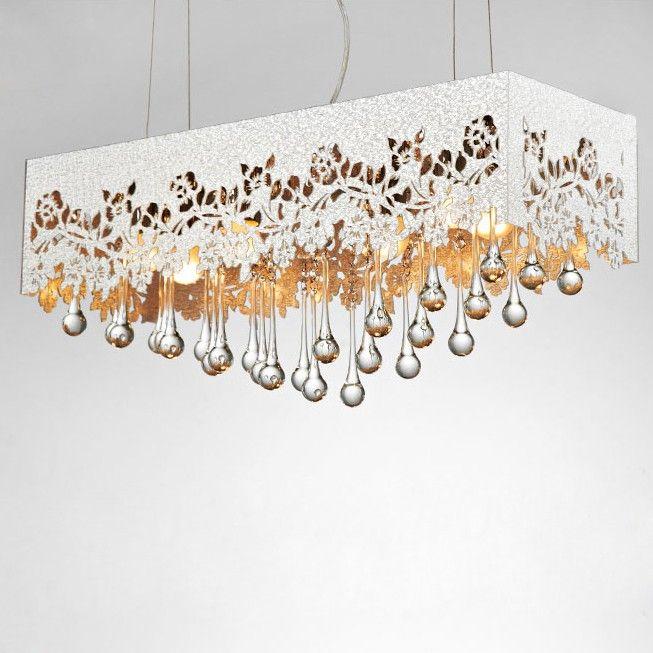 Island Bosca Rectangular Acrylic Shaded Pendant Light Silver - Lighting