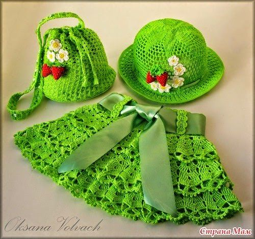 Todo crochet: Conjunto de niña: pollera, sombrero y bolsito - co...