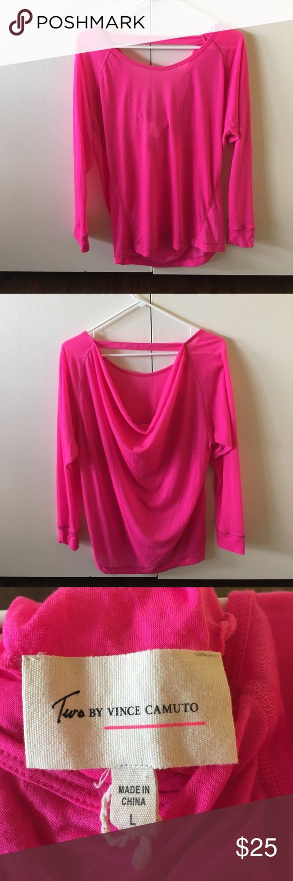 💗Two by VC HOT PINK Top with cowl back Size L💗 Two by Vince Camuto Hot Pink Long Sleeve tee Size Large. Interesting and unique back details: top fabric strap by the neck and a loose cowl back with open space between the strap and cowl. Lightweight fabric and outstanding color! Barely worn and great for a variety of occasions!! Two by Vince Camuto Tops Tees - Long Sleeve