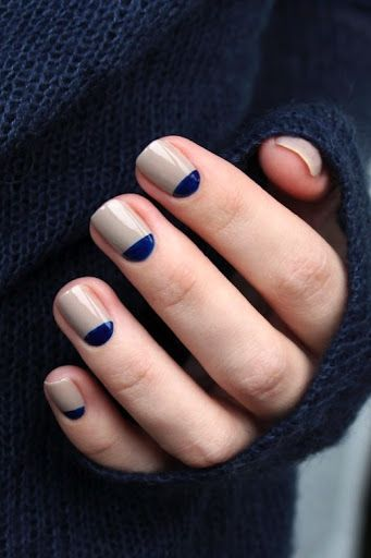 Le Fashion Blog DIY Nail Art Navy And Taupe Half Moon Manicure Dark Blue Sweater Via Muxe