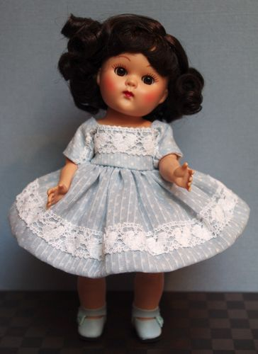 ~Here's to My Heart~ Dress Panties Slip 3 PC Doll Clothes Made w Vintage Pale Blue Dimity Fits Ginger, Muffie, and Repro and Vintage Ginny dolls too!