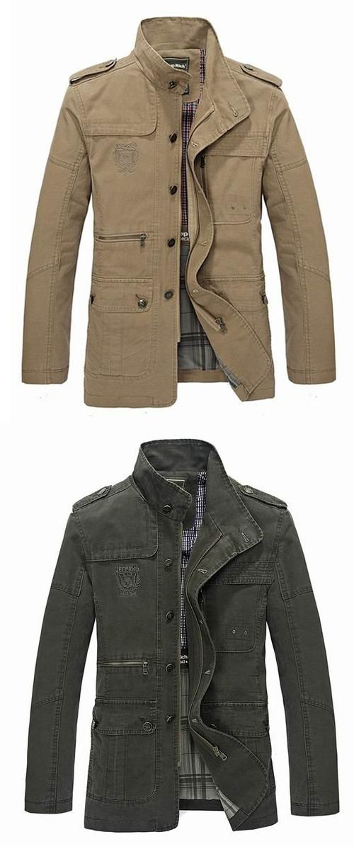 Men's Spring Casual Business Washed Lapel Cotton Blend Jacket Coat