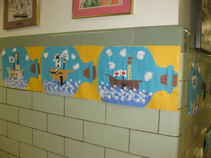 Ship in a bottle, gr.3, construction paper collage with shaving cream and glue waves.