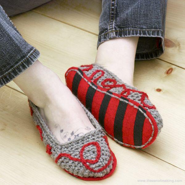 Tutorial: Fancy Felt Soles for Crocheted Slippers | Red-Handled Scissors