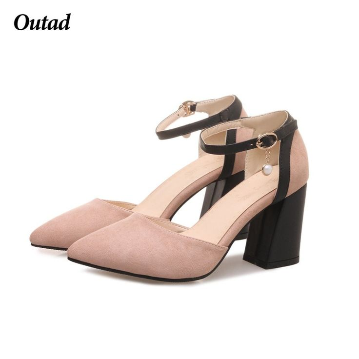 New Fashion Women Pumps Sexy Female High Heels Scrub Pearl Buckle Strap Women Shoes Lady Square Heels Wedding Shoes
