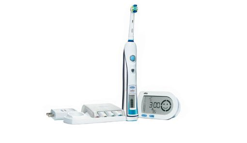 """ProfessionalCare SmartSeries 5000 Electric Toothbrush from Oral-B. """"Wireless SmartGuide helps maximize brushing performance ...pressure sensor stops pulsations when brushing too hard.""""  The guide includes timer, pressure control, various modes such as 'daily clean', 'sensitive', 'massage' and 'whitening.' Comes with a user guide."""
