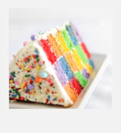 Sprinkle Bakes: Lemony Rainbow Checkerboard Cake