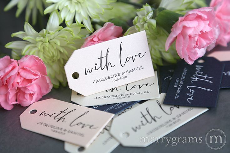 With Love Chic Heart Favor Tag - These adorable little favor tags are made with ultra-thick shimmer cardstock. They are perfect for those delicious treats, candies, mini champagnes or any other heartfelt wedding favor. There is a hand-punched hole at top to easily slide ribbon or twine through. Customized with your names and wedding date! Print is dark grey.