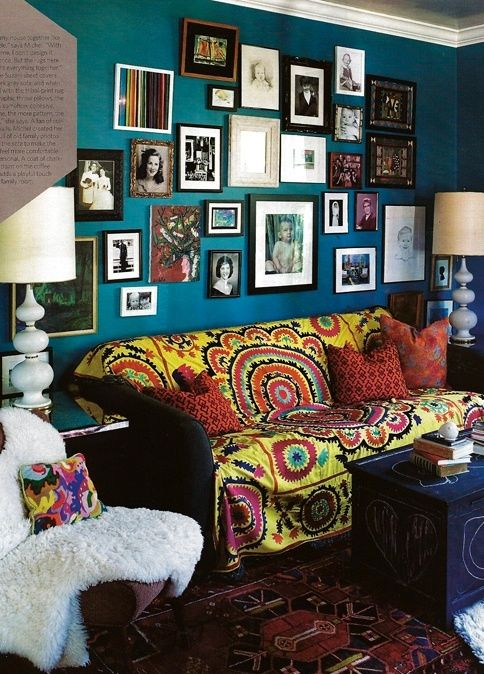 Bright Susani. Designer Michel Van Devender's living room