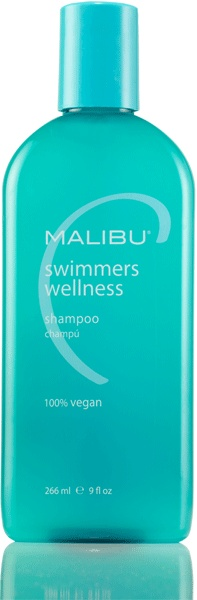 For all you blondies... keeps your hair from turning green, but great for any swimmer battling chlorine damage. Malibu C® Swimmers Wellness Shampoo