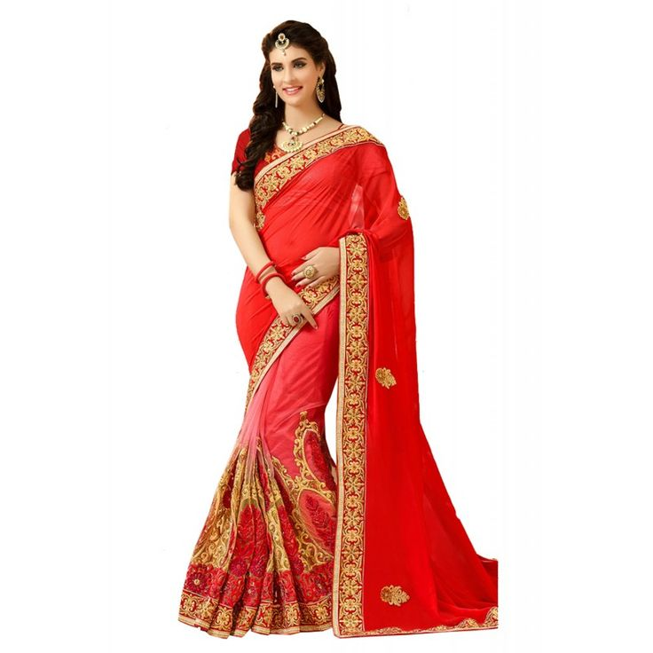 This Deep Scarlet Net Saree is adding the enticing glamorous displaying the sense of cute and graceful. The ethnic Lace & Crystals Stones work at the clothing adds a sign of attractiveness statement with your look.
