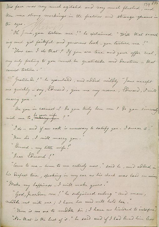 Charlotte Bronte's hand-written manuscript for Jane Eyre, opened to Rochester's proposal.