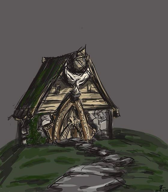 Another digital one but it's just half done and I have no idea when I'm going to finish. Inspired by the houses of How to train your dragon #digitalart #house #digitaldrawing