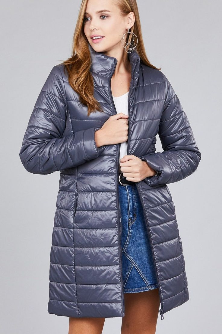 Long sleeve quilted long padding jacket in 2020 | Quilted ...