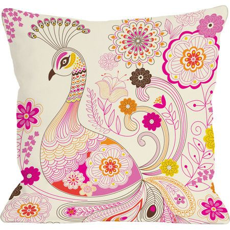 Add a charming touch to your living room sofa or settee with this stylish pillow, showcasing a peacock motif and floral details.  Pr...